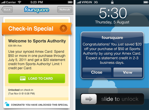 foursquare american express special