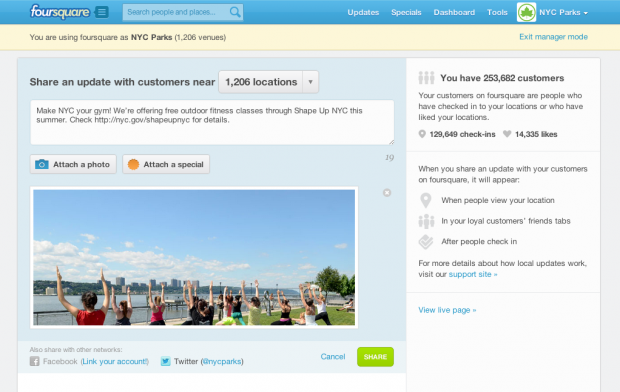 foursquare business updates nycparks